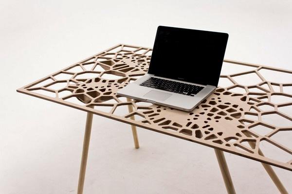 泰森多边形网状笔记本电脑桌
