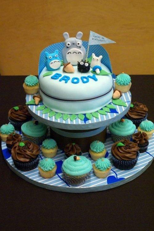 美食图片:可爱的龙猫蛋糕 爱美图