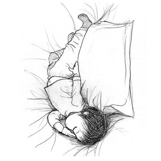 治愈系图片:可爱北鼻睡姿手绘
